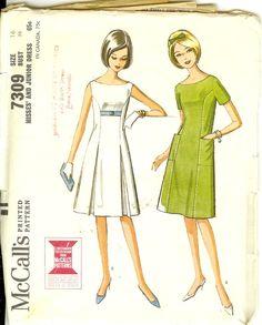 Vintage Aline Dress  60s Vintage McCalls7309  Miss Size 16   Bust 36  1960s Sewing Pattern