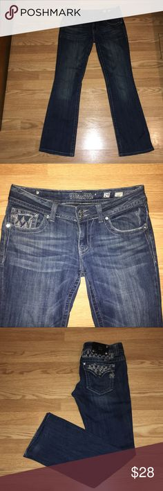 Miss Me Jeans Size 29' inseam: 35' has some wear on the cuff area as shown in picture, normal wear Miss Me Jeans Boot Cut