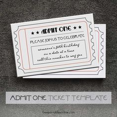 Admit One Gold Event Ticket Template (Free Printables Online ...