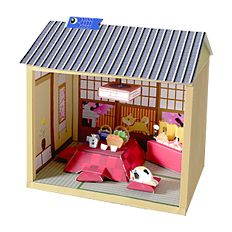 Doll House Japanese-style house, winter spring and (Re dolls helmet ceiling light kotatsu table kotatsu futon cushion Hinaara Kashiwamochi hanging scroll) free material download | Paper Museum