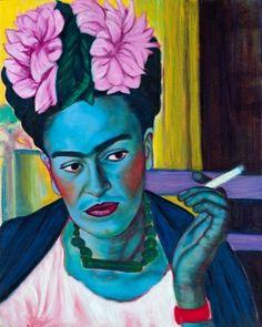 Jennifer Mondfrans Frida Smoking- 2014 Oil and acrylic on wood 41 x 51 cm Frida Kahlo Artwork, Frida Art, Mexican Folk Art, Face Art, Art History, Digital Prints, Original Paintings, Illustration Art, Photos
