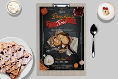 This flyer/poster was designed to promote food company events. But it can also be used for other advertising purposes. It has real modern style, with effects and photos included in the Scene Creator, The Creator, Photo Layers, Consulting Logo, Logo Images, Breakfast Time, Print Templates, Flyer Template, Flyer Design