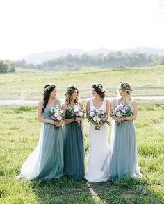 Bridesmaid Dresses Country Style Ruffles Long Floor Length Beach Mix And Match Wedding Party Guest Junior Maid of Honor Gowns Formal Ombre Bridesmaid Dresses, Bridesmaid Brunch, Bridesmaids And Groomsmen, Wedding Bridesmaids, Bohemian Bridesmaid, Bridesmaid Flower Crowns, Bridesmaid Colours, Bill Levkoff Bridesmaid Dresses, Flower Headband Wedding