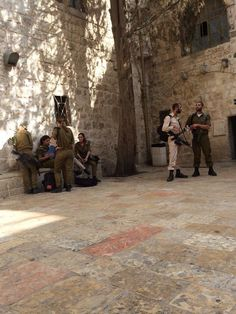 Jerusalem. Soldiers of the IDF. I love these men and women who are called to defend their land.