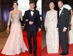 Princess Mary of Denmark on the left looks breathtaking in this Birgit Hallstein gown.