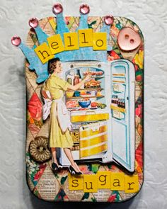 "Cute altered Altoids Tin fridge magnet holder by guest designer Kristen Simmonds using our Girlfriends Creative Scraps and the diamind paper was from our Earthy Paper.  Too bad the Earthy Paper just sold out but it will be turned into a Digital Earthy Paper Download  and all the papers are 300 ppi/dpi and re-sizeable from 12 x 12""  See more photos on the blog of the magnets and tin."
