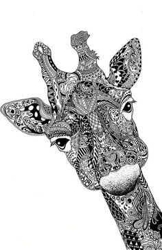 giraffe zen-doodle