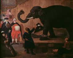 Pietro Longhi - An Elephant Shown in Venice. Oil on canvas. Pietro Longhi (c.1701-85). Private Collection.
