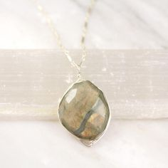 Wrapped Faceted Labradorite Silver Necklace – Sarah DeAngelo My Signature, Silver Bars, Grey Stone, Rainbow Colors, Labradorite, Illusions, Pendant Necklace, Chain, Sterling Silver