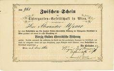 HWPH AG - Historische Wertpapiere - Thiergarten-Gesellschaft in Wien Wien, 05.06.1862, Zwischenschein über 40 Gulden österreichischer Währung, #968