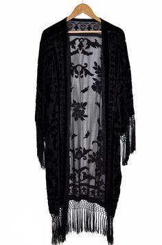 This is beautiful! Black Velvet Kimono <3