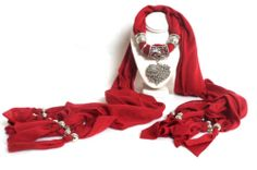 Fashion Jewelry Scarf Necklace Silver HEARTS Pendant Charm Tassel 6 COLORS AVAIL