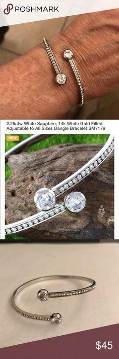 Genuine Sapphire BLING BRACELET PLEASE READ DESCRIPTION ON 2nd picture   2.25 Sapphire adjustable Bangle   14k white Gold Filled bracelet Jewelry Bracelets