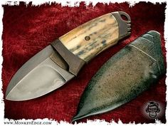 Monkey Edge - Anders Hogstrom: Short Stack Fixed Blade w/Walrus Ivory: Cool Knives, Knives And Tools, Knives And Swords, Antler Knife, Tactical Knives, Edc, Knife Patterns, La Forge, Neck Knife