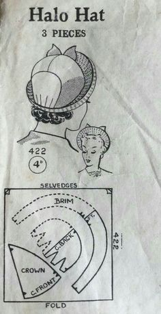 Vintage Sewing Patterns, Clothing Patterns, Hat Patterns, Diy Couture Mode, Diy Vintage, Hat Tutorial, Millinery Hats, Pattern Drafting, Hat Making