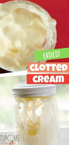 This homemade clotted cream is really easy for anyone to make. This clotted cream recipe is straightforward: you dump cream in a pot and put it in the oven. Clotted cream is a topping typically served on scones or crumpets. at tea time. Best Dessert Recipes, Cupcake Recipes, Fun Desserts, Party Recipes, How To Make Cheese, Food To Make, Whipping Cream Uses, Clotted Cream Recipes, Cream Tea