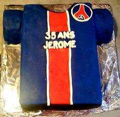 Gâteau maillot PSG #chocolat #maillot #cake #anniversaire #homme #PSG