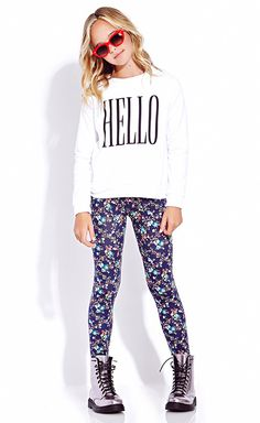 Floral pants will take a basic top to the next lvl. Wear w/ a white basic v-neck(cruise neck might work) take off sweater when weather become hot. Sweater weather -heh #Forever 21 girls