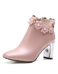 Pink Calf Leather Mid-Heel Floral Studded Ankle Boots, Pink, NAIQIER | VIPme
