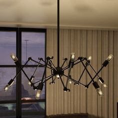 Vonn Lighting Dorado 39-inches Hanging Industrial Multi-Pivoting-Arm Chandelier Lighting with LED Filament Bulbs in Black