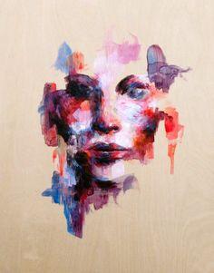 "Untitled, fluid acrylics, 12"" x 9"" on wood panel fiorellaikeue.com"