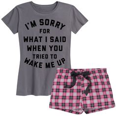 Frillies Charcoal & Pink Plaid 'I'm Sorry' Pajama Set ($20) ❤ liked on Polyvore featuring intimates, sleepwear, pajamas, plaid pajama set, cotton pjs, cotton pyjamas, tartan pajamas and cotton pajamas