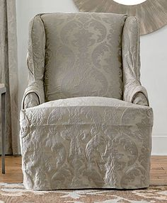 Sure Fit Slipcovers, Matelasse Damask Wing Chair