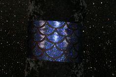 spandex headband, sport headband, yoga headband, running headband, fitness headband, wide headband, blue holographic mermaid scales headband by GoOutsideAndPlayUSA on Etsy