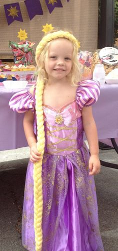 Rapunzel Braid Tangled party Tangled Hair piece with flowers Rapunzel Dress Up, Tangled Dress, Tangled Costume, Rapunzel Braid, Tangled Hair, Princess Dress Up, Princess Rapunzel, Rapunzel Birthday Party, Tangled Party