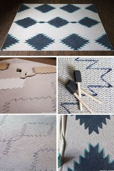 8 Brilliant DIY's To Upgrade Your Room Decor - Craftsonfire DIY Painted Rug and many other genius DIY Projects you can do to make your room look SUPERB. Painted Rug, Stain Remover Carpet, Idee Diy, Diy Carpet, Carpet Ideas, Patterned Carpet, Carpet Design, Diy Weihnachten, How To Clean Carpet