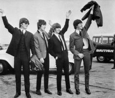 The Beatles waving to fans c. 1964