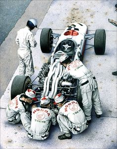 ayegurl:   The Pride and The PassionBy Simon Owen  Richie Ginther stands beside the 1966 F1 Honda in preparation for the Italian  Grand Prix at Monza.