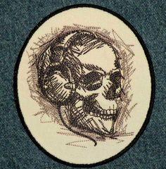 Rocking Skull Iron on Patch. $11.00, via Etsy.