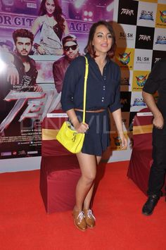 Sonakshi Sinha was seen promoting her upcoming movie, Tevar. She was seen in a short dress. This time it wasn't her co-star Arjun Kapoor but the film's producer, Sanjay Kapoor along with her.