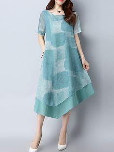 Vintage Women Short Sleeve Irregular Hem Dresses