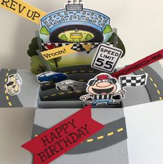 "It's ""I Spy Saturday"" and we found this Fun pop up box card from Sherri using the Rev Up the Fun set. This card is perfect for any race fan. Birthday Cards For Boys, Happy Birthday Me, Boy Birthday, Pop Up Box Cards, Card Boxes, Rubber Stamp Company, Games Box, I Spy, Cute Cards"