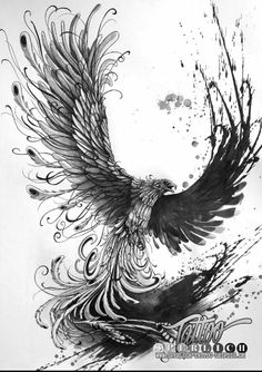 Birds were never caught.I love the splatter effect in the background Tattoo Design Drawings, Bird Drawings, Tattoo Designs, Tatoo Art, Body Art Tattoos, Sleeve Tattoos, Phoenix Bird Tattoos, Phoenix Tattoo Design, Phenix Tattoo