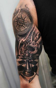 Tattoo, Chess Piece Compass Arm - http://tattootodesign.com/tattoo-chess-piece-compass-arm/ | #Tattoo, #Tattooed, #Tattoos