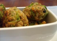 Broccoli Cheese Balls. These turned out great in my mini muffin pan. Kinda like a broccoli quiche.