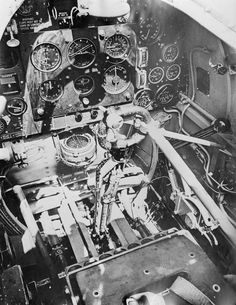 The instrument panel and flying controls of a Supermarine Spitfire Mk II.