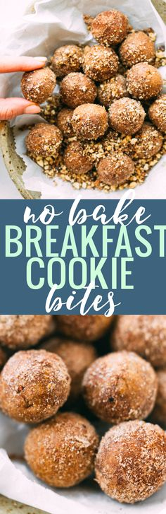 No Bake Breakfast Cookie Bites with wholesome ingredients! Rich in fiber, protein, and vegan! Cinnamon, oats, nuts, molasses, maple syrup! Breakfast to go! www.cottercrunch.com