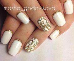 Ideas de manicura para este otoño Lace Nails, Silver Nails, Rhinestone Nails, Fingernail Designs, Nail Art Designs, Bridal Nails, Wedding Nails, New Years Nail Designs, Nail Tattoo