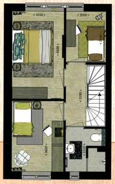 1e verdieping suggestietekening van ons nieuwe huis (badkamer en voorkamer kloppen niet)
