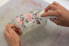 DIY decoupage jar- this would be great for the air freshener or any of the scrubs