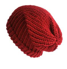 Deep rich claret red bohemian grunge classic style unisex slouchy beanie hat.  Hand df186c53ccc0