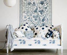 Blue & White Prints and Patterns Room