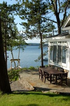 patio of a small cottage in Maine Lake Cottage, Cottage Living, Cottage Style, Lakeside Cottage, Cottage Patio, Cottage Exterior, Cabins And Cottages, Beach Cottages, Small Cottages
