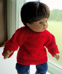 This is no earth-shattering pattern, but I hope it will help fellow moms (and those of you who collect these dolls yourself). If you want something more than a basic sweater, you can work this in stripes, add a chart, whatever. It's a basic pattern that can go a lot of different ways.