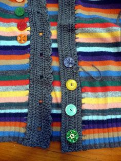 Cardiganize an Old Pullover Upcycle a knitted sweater by making into a cardigan with crochet edges and new buttons. Crochet Buttons, Knit Crochet, Alter Pullover, Sewing Patterns, Crochet Edgings, Tatting Patterns, Sweatshirt Refashion, Recycled Sweaters, Refashioned Clothes