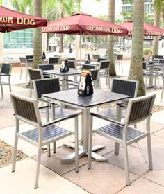 Outdoor restaurant tables made of granite are a gorgeous option for ...